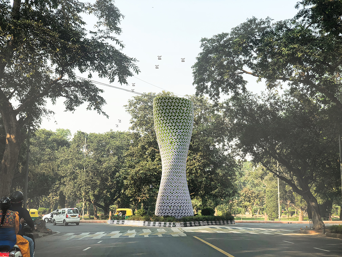 A rendering of a curving white and green tower in an intersection.