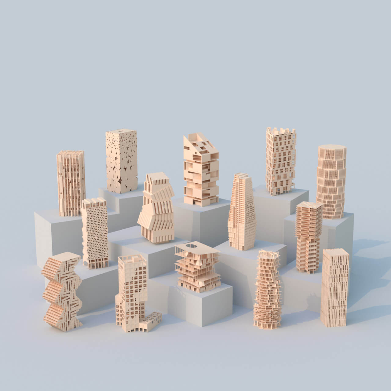 Scale towers all made from mass timber