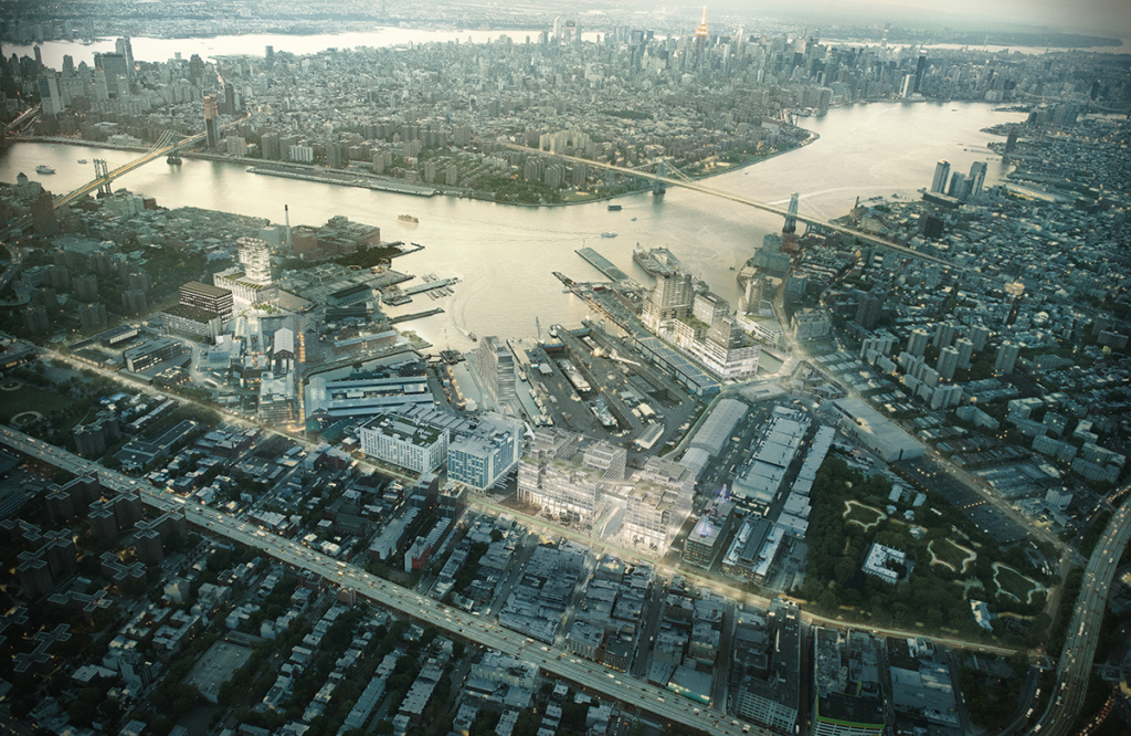 A bird's eye view of Brooklyn and the East River
