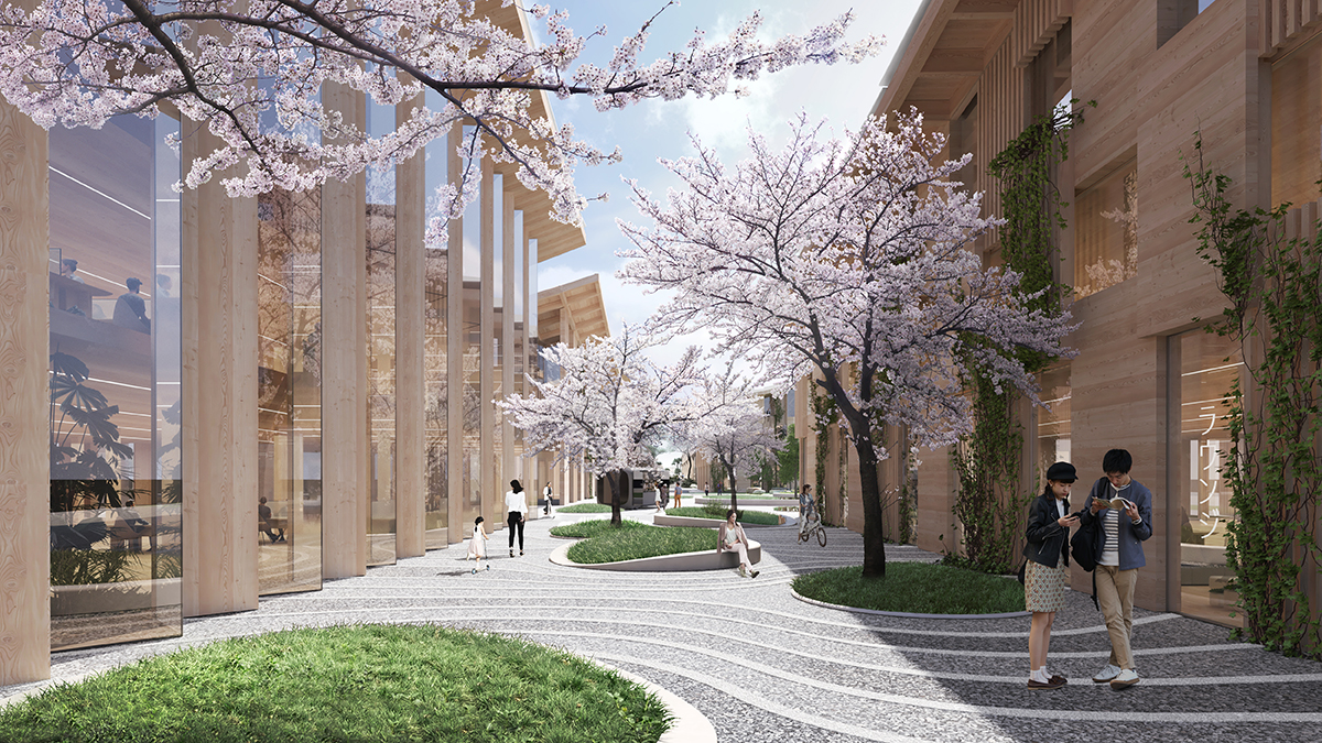 A path with swooping lines and circles of grass and cherry trees, framed by timber buildings.