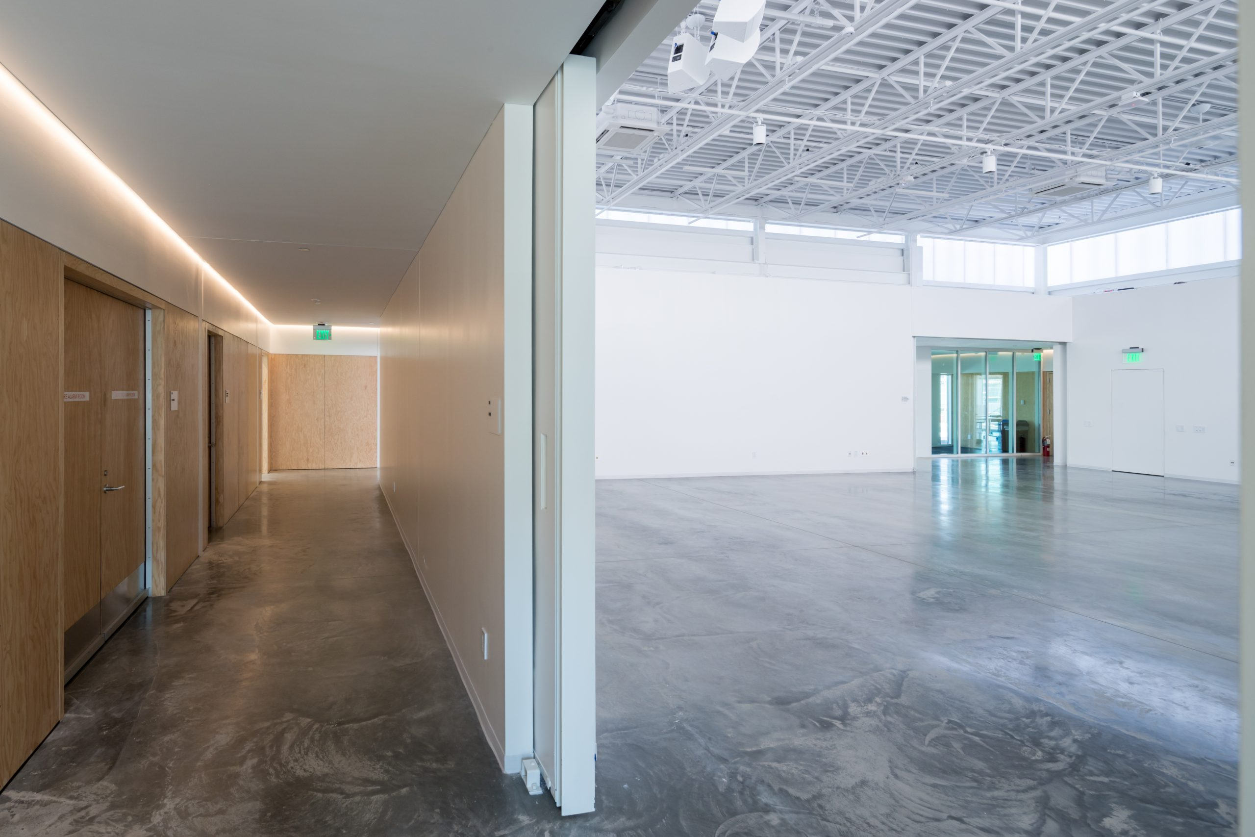Interior of a studio space in the ArtLab with concrete floors