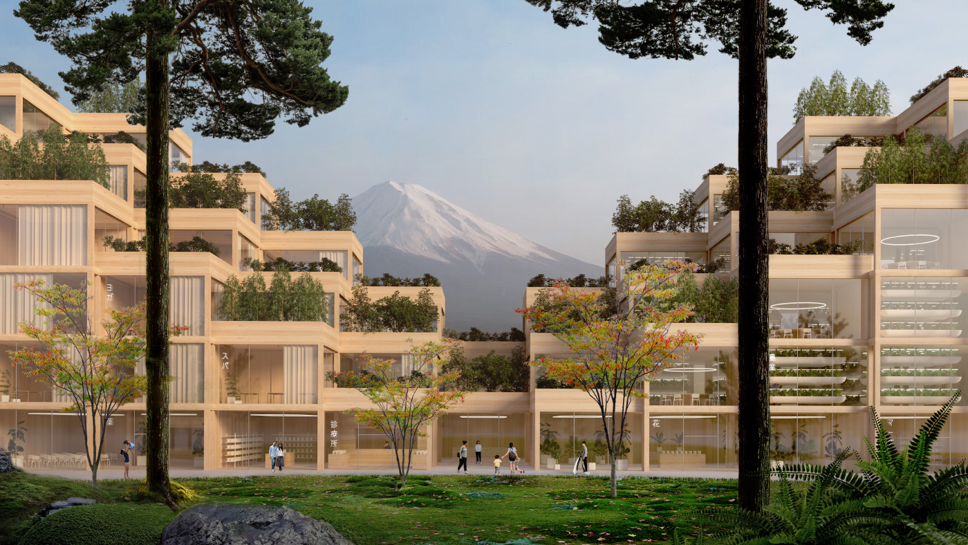 Boxy, stacked residential units with Mount Fuji in the background