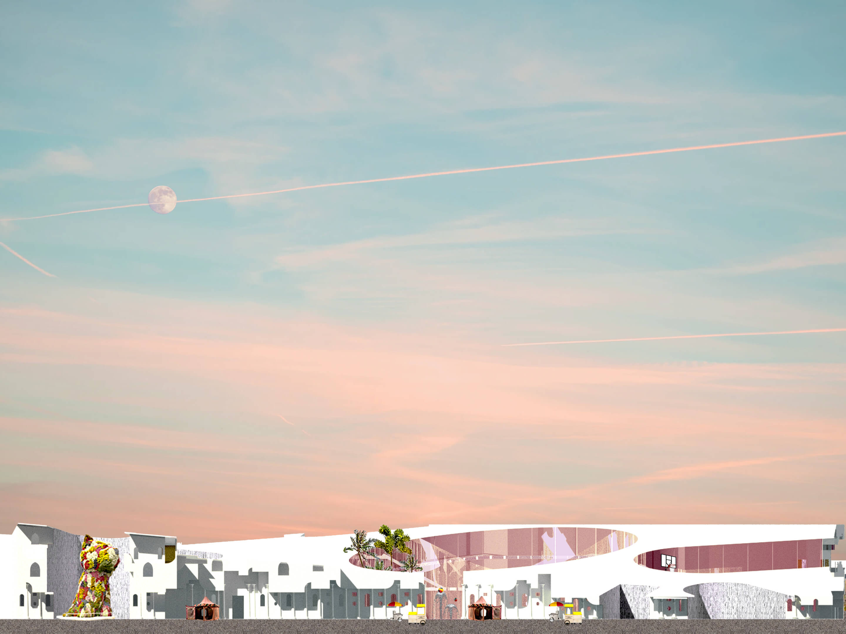 digital collage of various white buildings and vegetation below a blue and pink sky