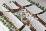 Aerial photo of a model of a courtyard