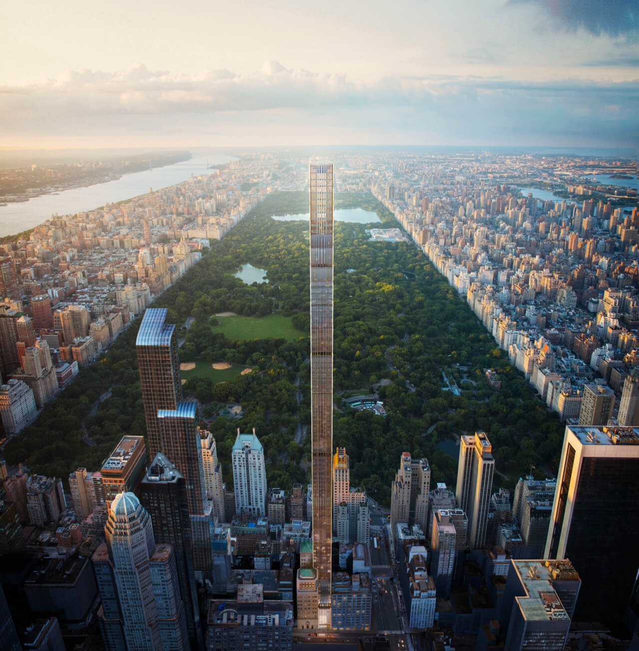 rendering of 111 west 5th street, a pencil-thin tower looming over central park