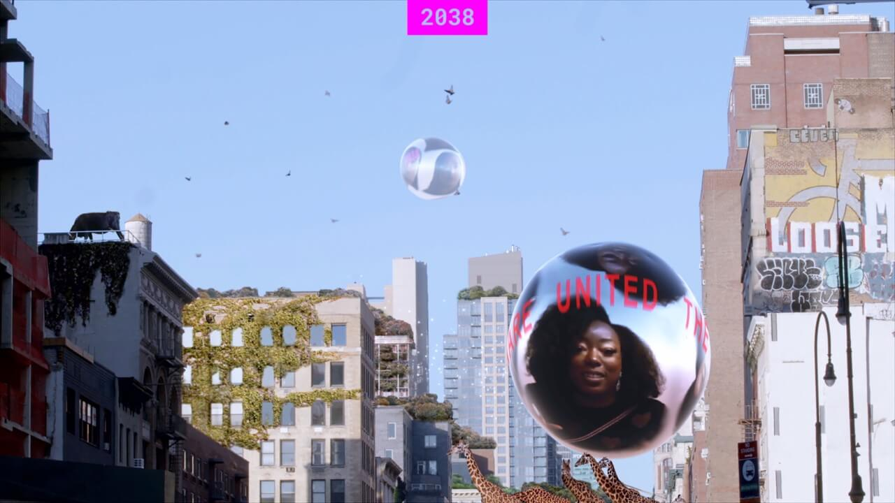 film still of a documentary with floating orbs set against a city backdrop