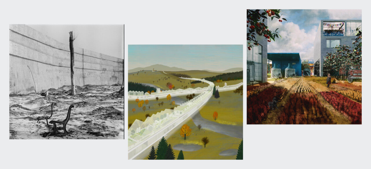 triptych of three speculative architectural proposals for a rural context