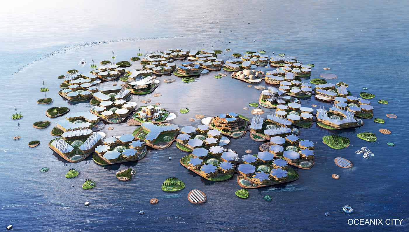 Rendering of PR-chitecture, a floating city