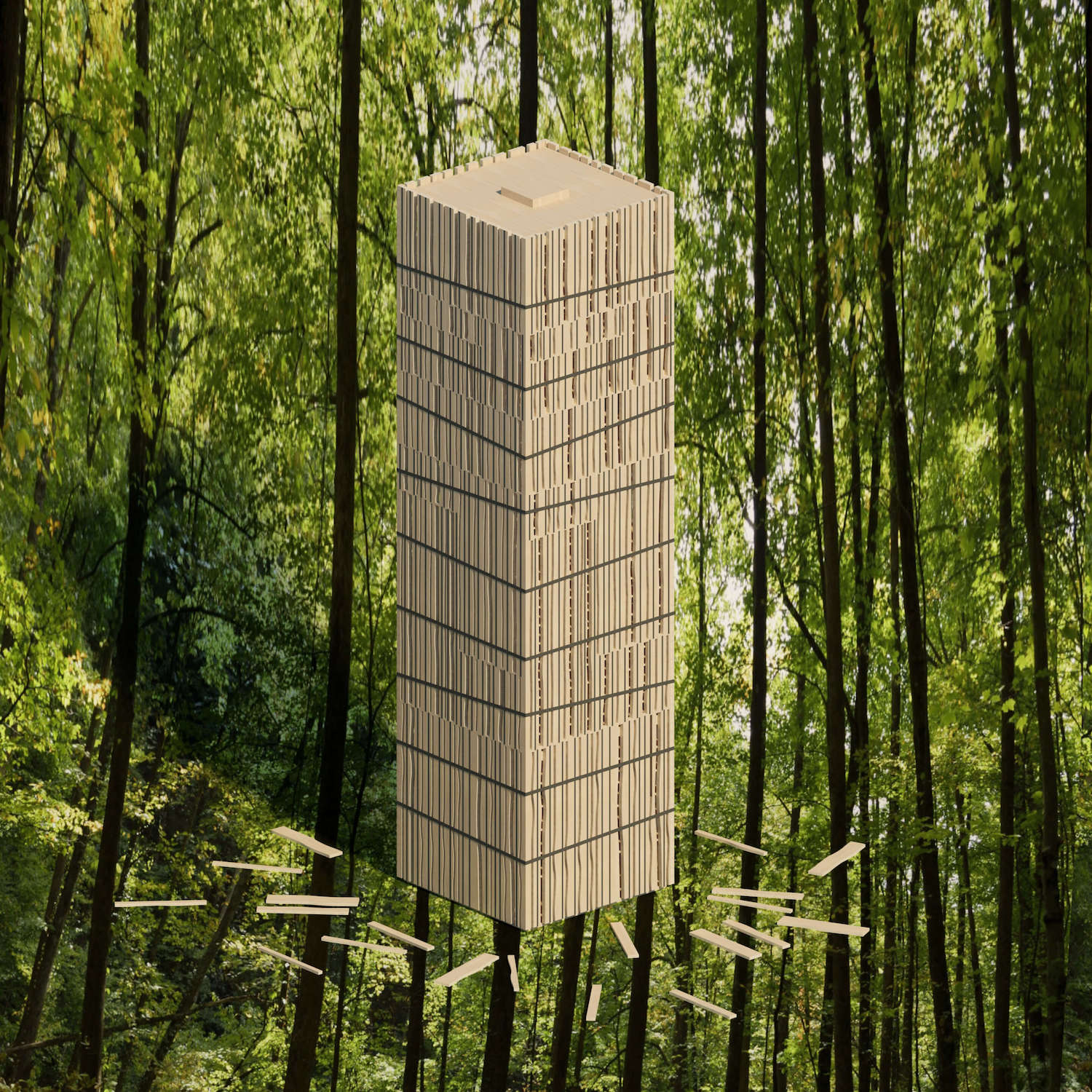 Rendering of a timber tower against bamboo