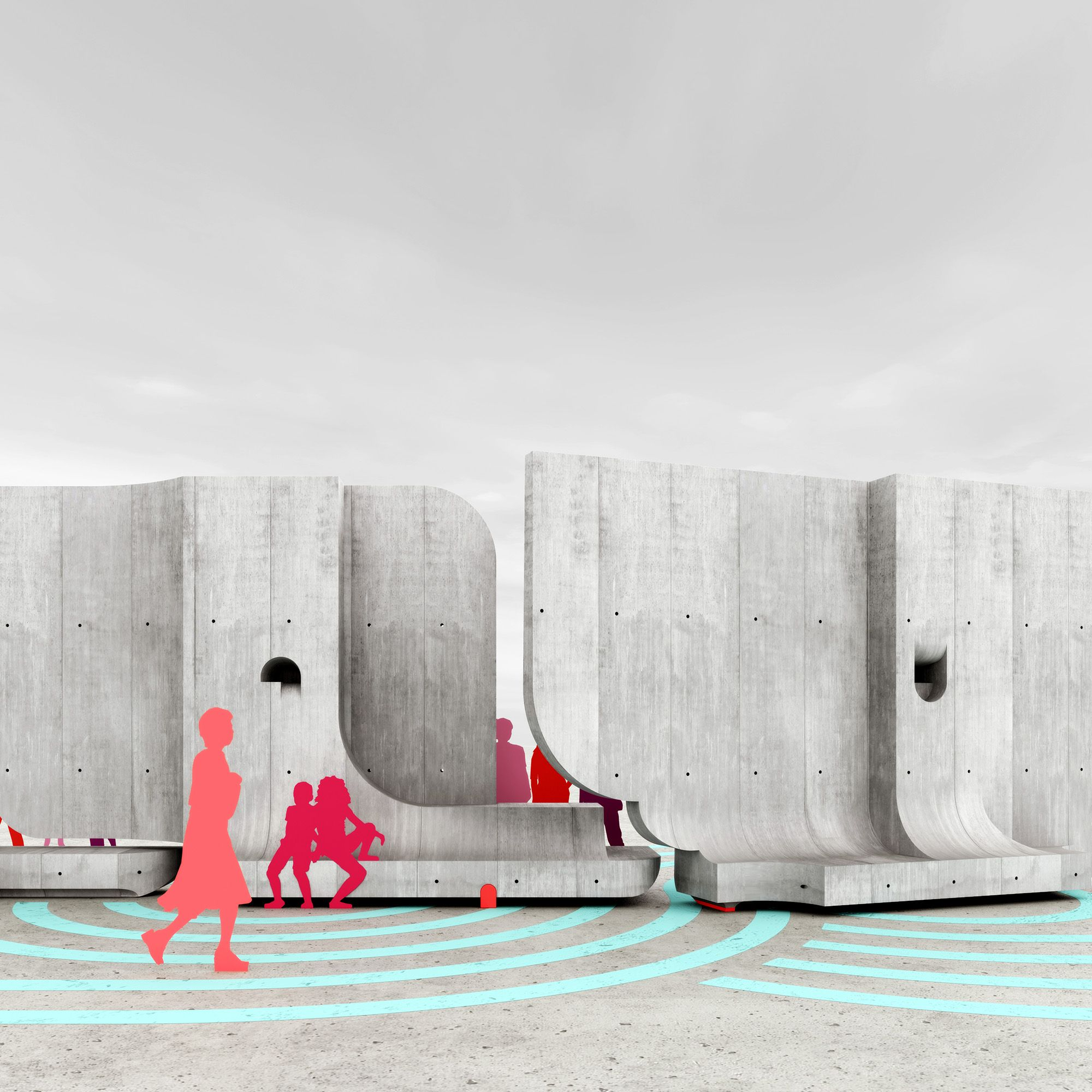 Rendering of a swinging concrete walls at AquíAquí in el paso