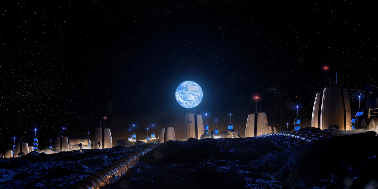 Rendering of a moon city made of triangular structures with the earth hanging above