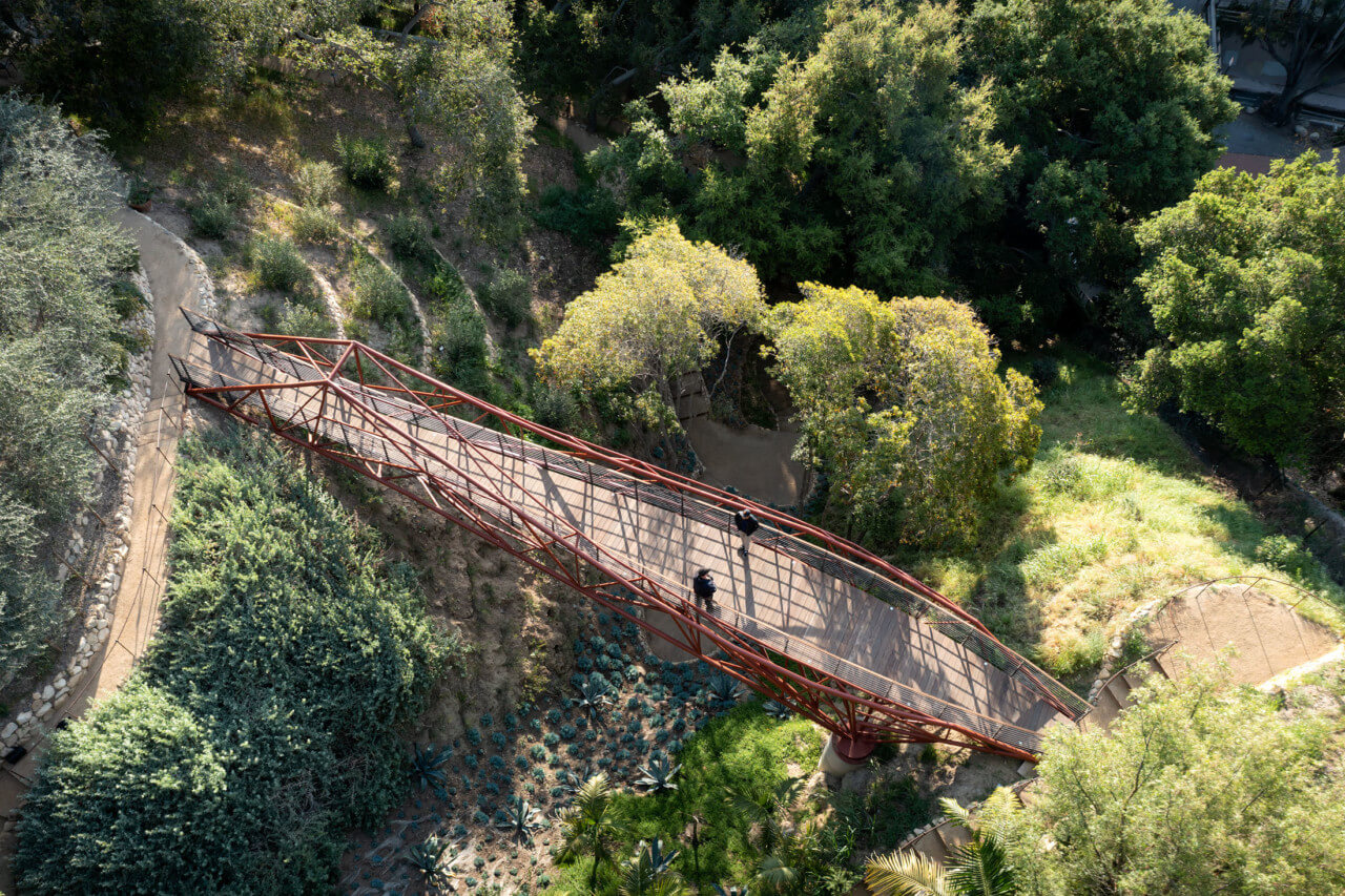 Aerial image of the bridge over a canyon