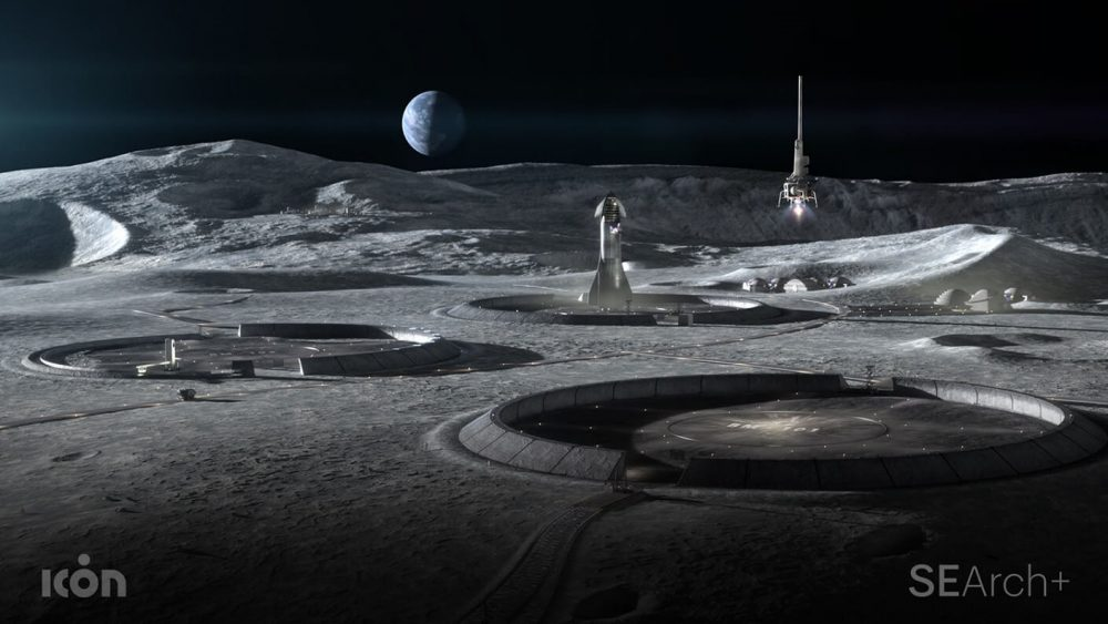 Rendering of a lunar colony with circular buildings for project olympus