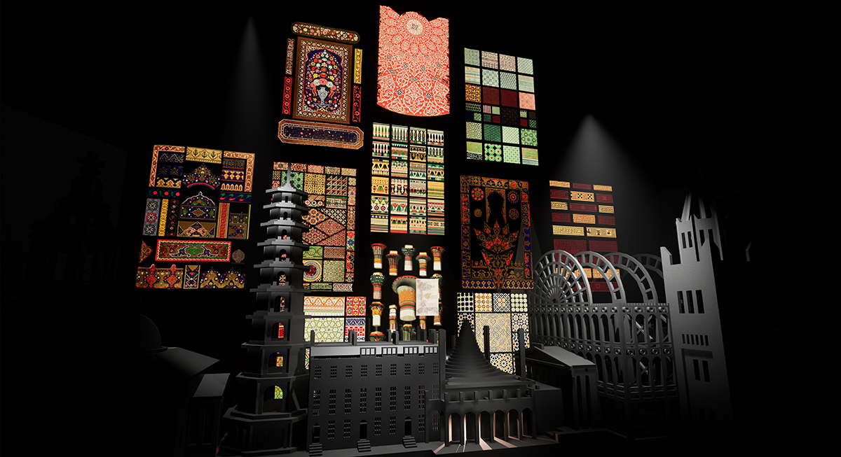 A 3D environment with a black architectural model and many stained glass windows.