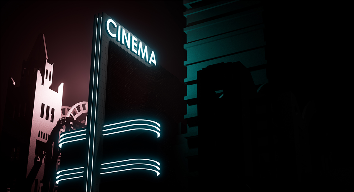 A glowing neon sign that reads CINEMA