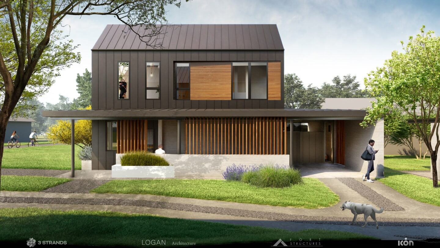 rendering of a two-story home with a large front yard