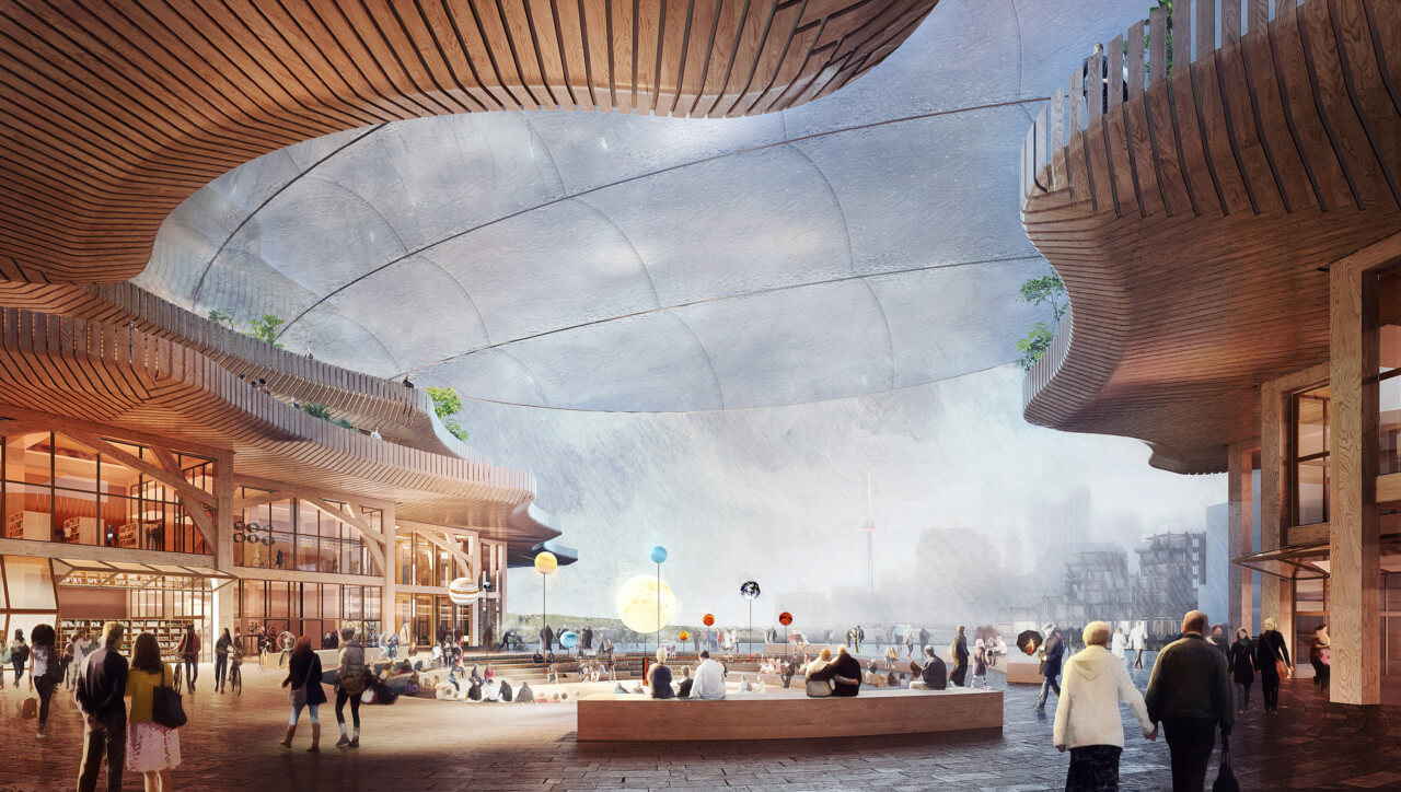 Rendering of a timber canopy atop a smart city cover