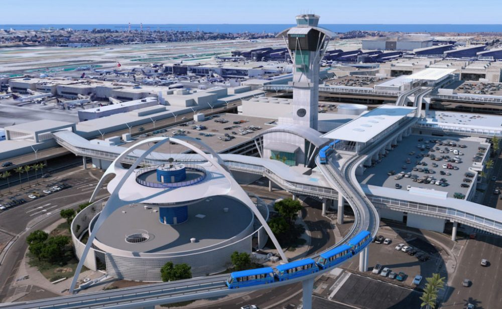 A render of a blue elevated train snaking through LAX.
