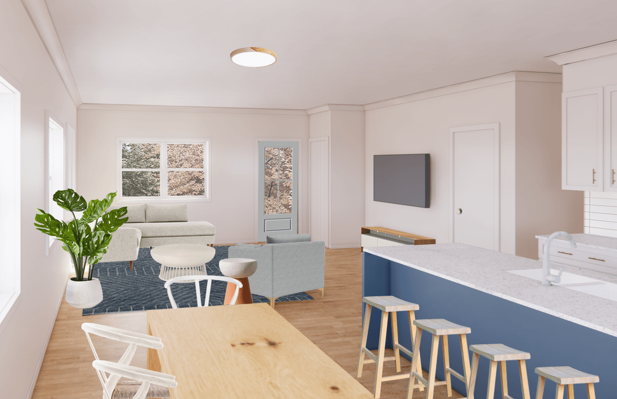 interior rendering of a living room