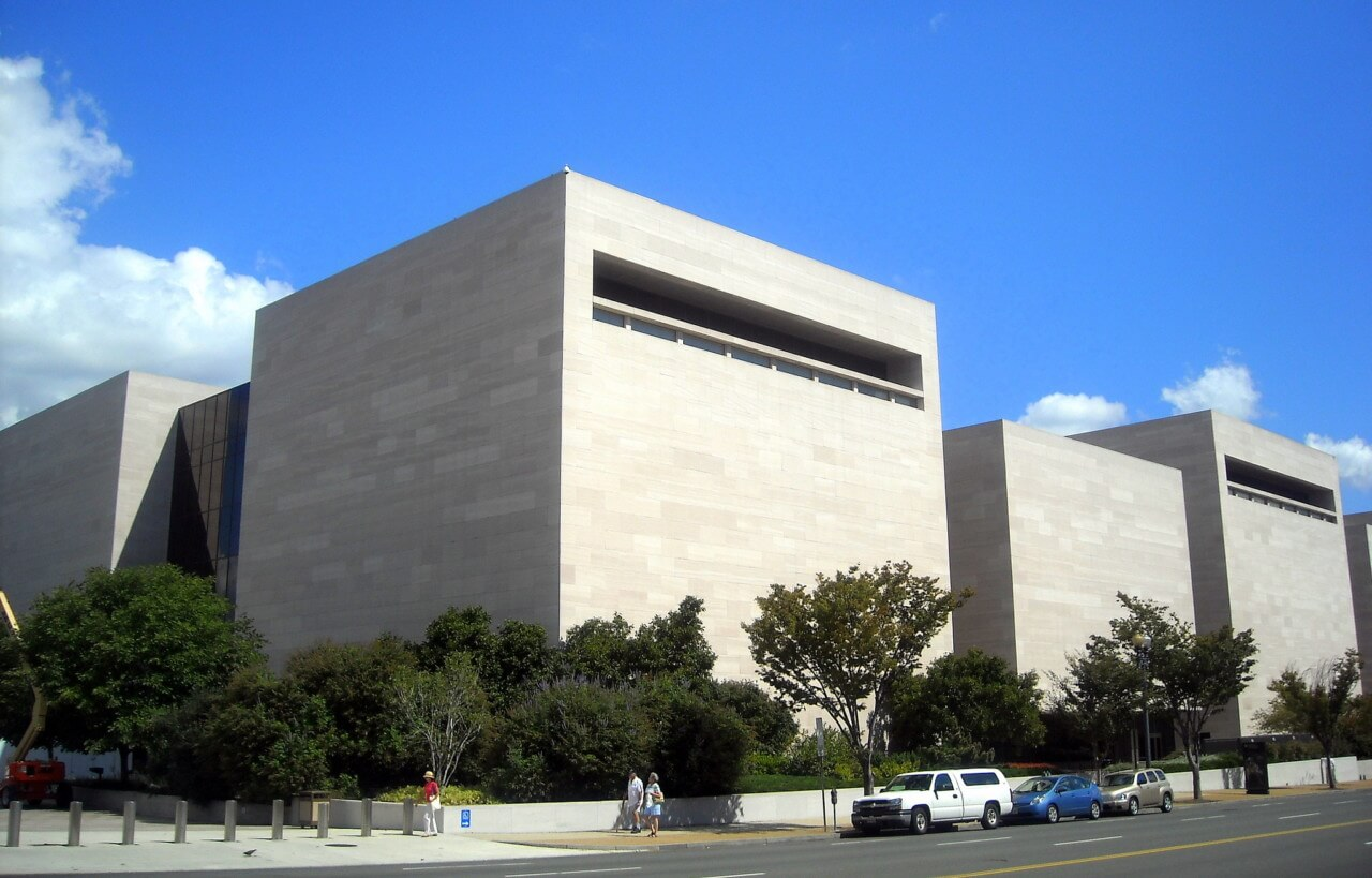 exterior of a monolithic 70s era museum building in d.c., which will be helped along by a donation from jeff bezos