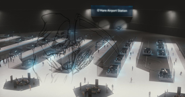 Rendering of a train station with the grim reaper superimposed on top, a hyperloop station