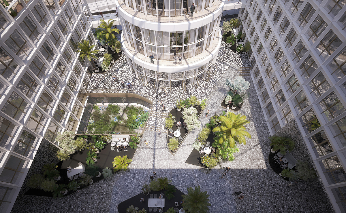 """Aerial rendering of a floor clad in """"Granito,"""" recycled terrazzo"""