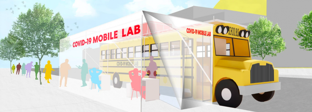 a school bus converted into a mobile testing lab
