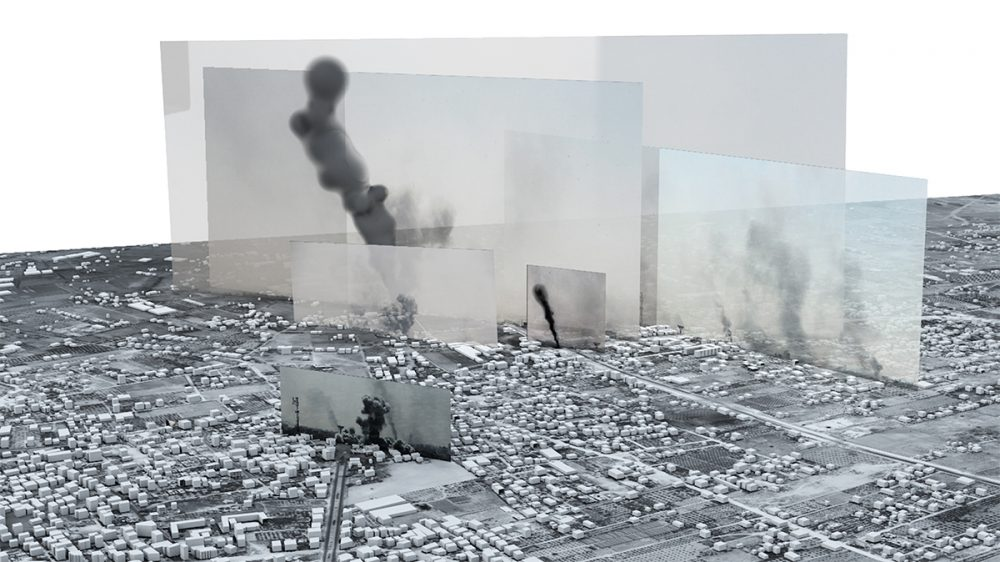 A render of a cityscape of Gaza with photos showing smoke from bombs floating above.