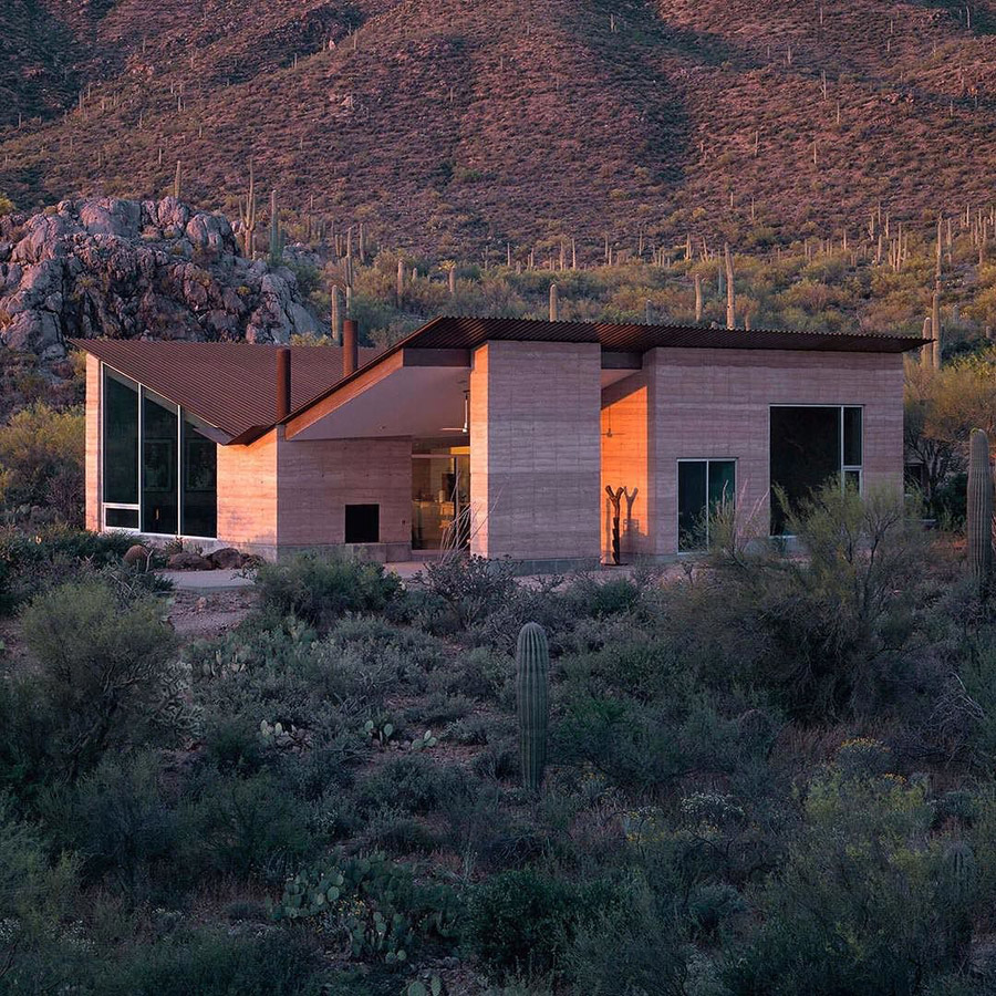 Photo of architecture rammed earth house, an example of material innovation