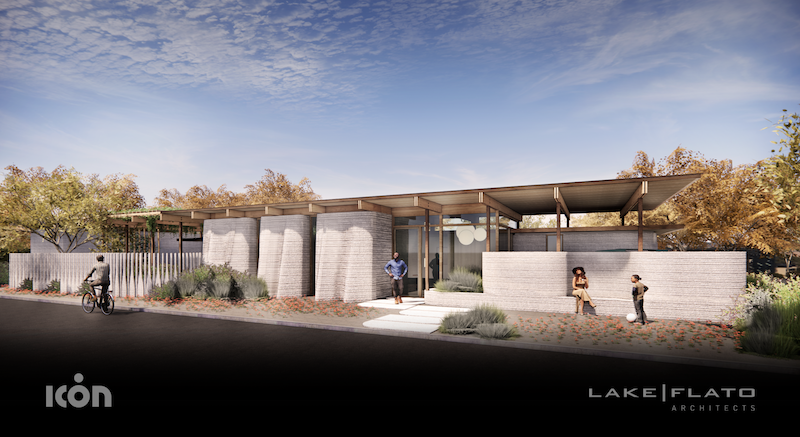 rendering of a ranch-style 3d-printed home