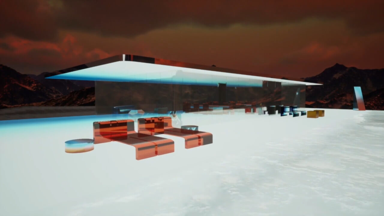 rendering of mars house, a glass house-like structure in neon on the surface of mars