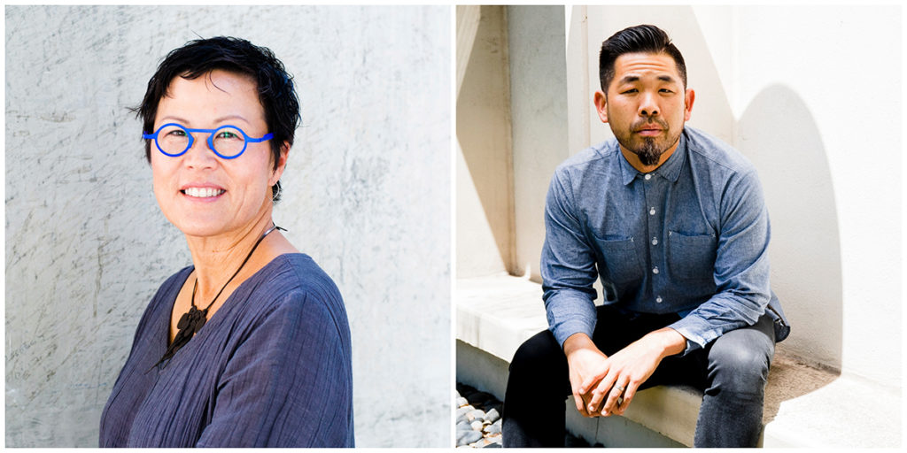 Side-by-side portraits of Doris Sung and Alvin Huang.