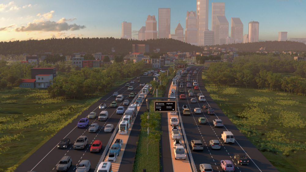 Rendering of a corridor between highways with autonomous vehicles