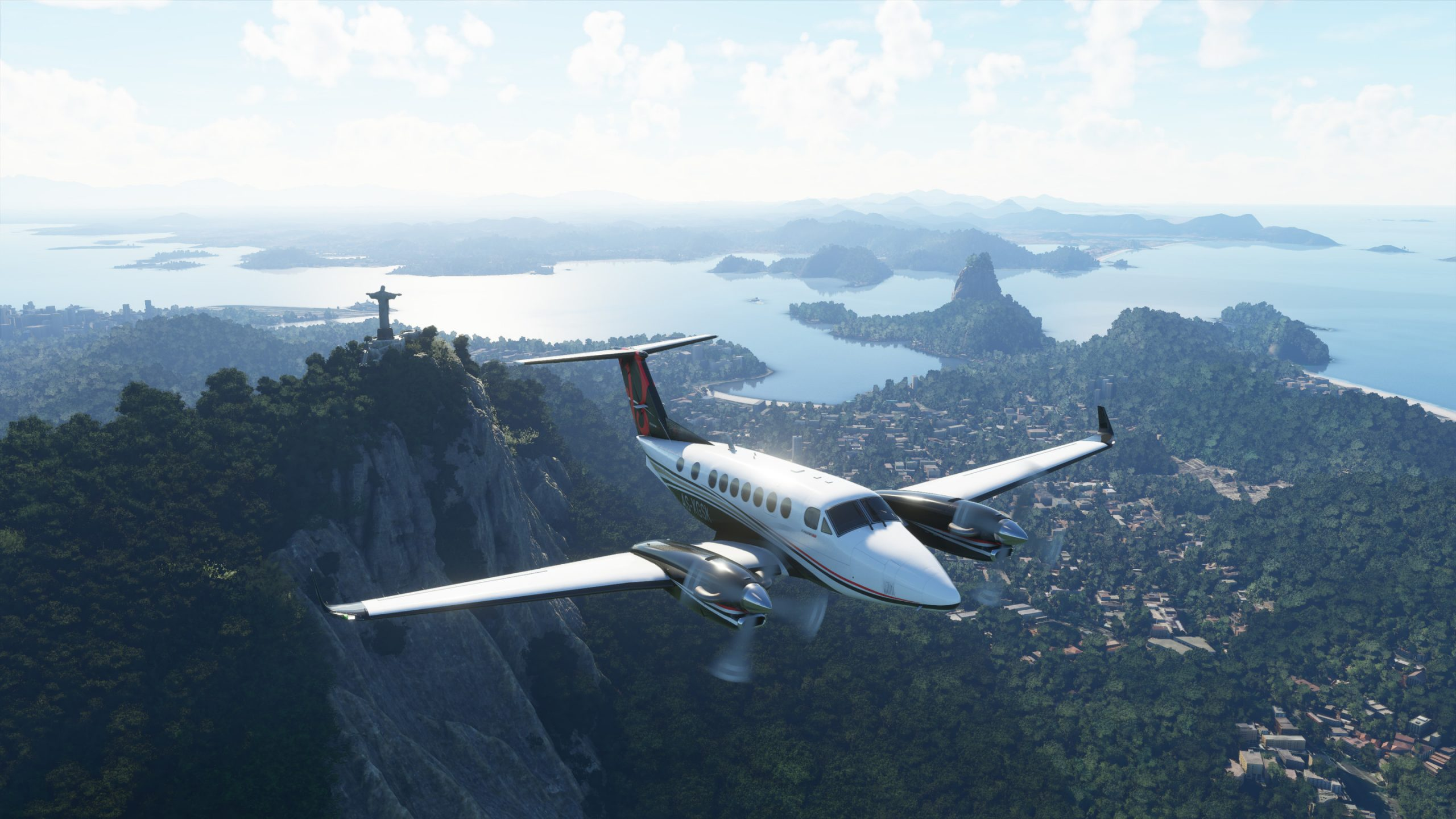 A screenshot of flight simulator 2020 showing a plane over the mountains of brazil