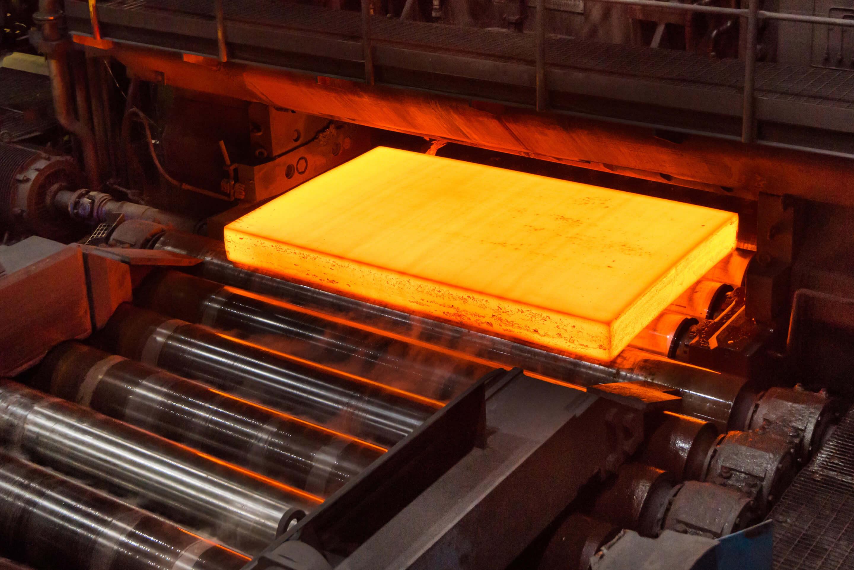 block of steel in factory