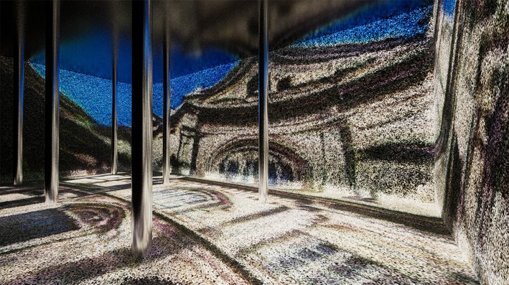 A rendering of an impressionistic image of buildings on all surfaces of a room with thin columns, created by ARTECHOUSE.