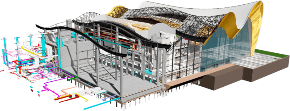 A 3D render and cutaway of a building with a rippling roof