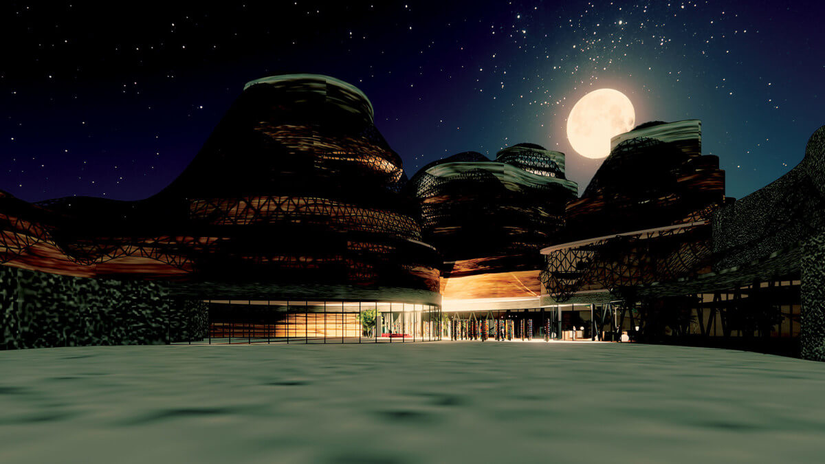 illustration of a structures in the moon-lit desert