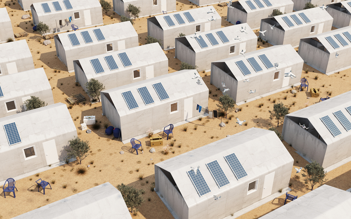 A render of gray refugee housing in rows topped with solar panels.