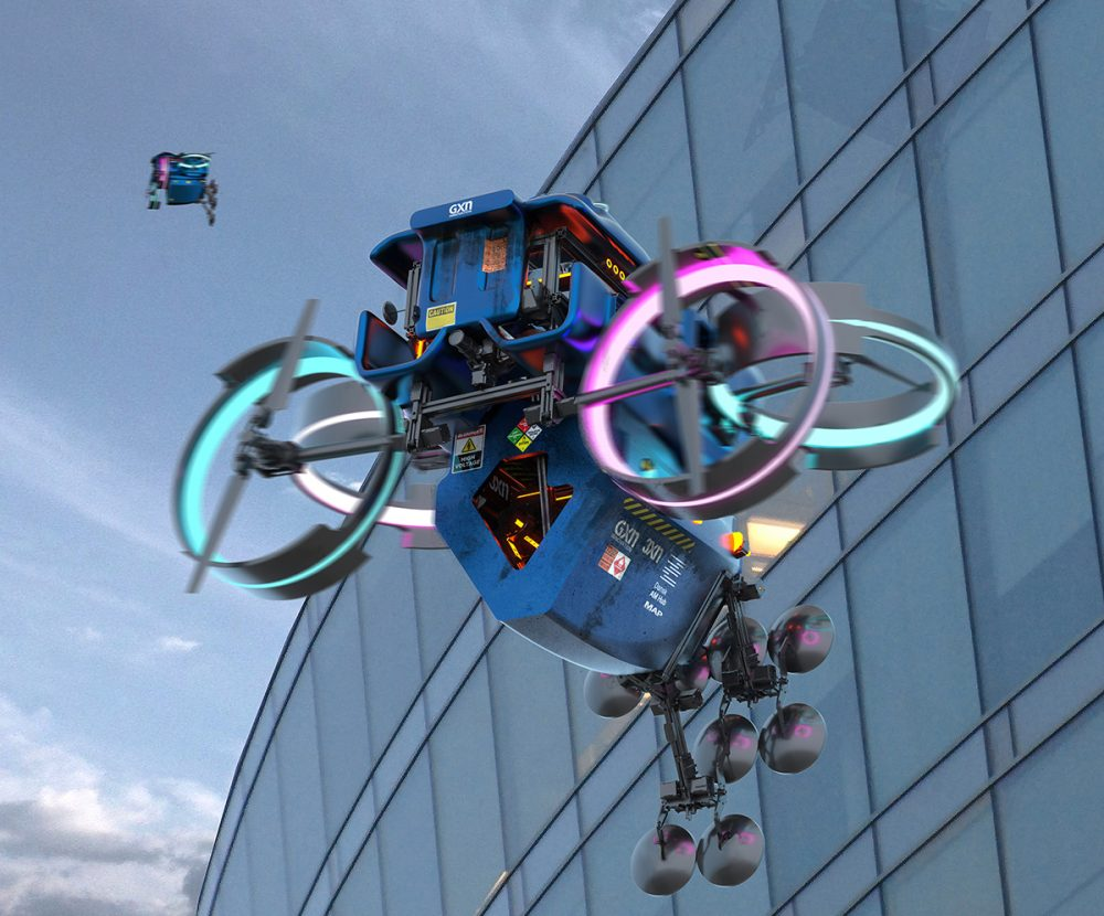 A blue drone made for 3D printing with pink and blue glowing blades floats in front of a glass building.