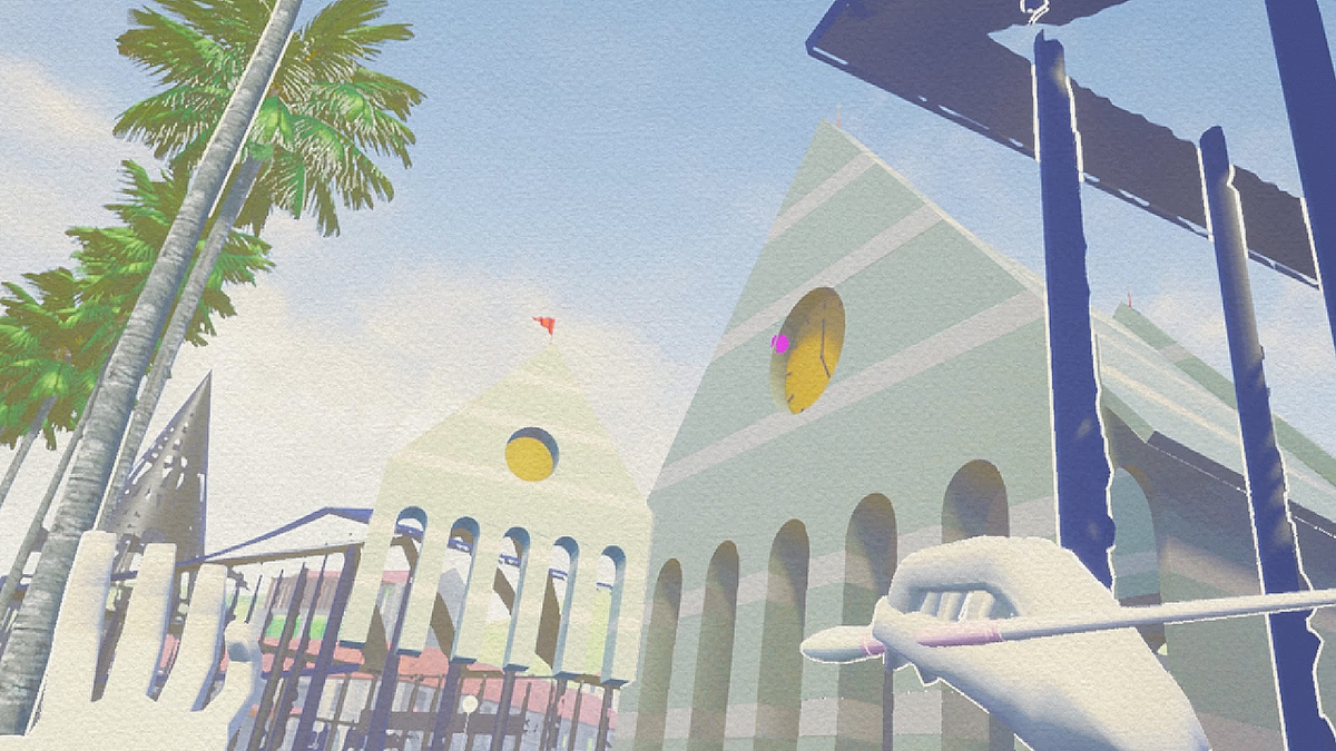 A virtual hand and paintbrush over facades painted with a watercolor effect, in a Michael Graves-designed landscape.