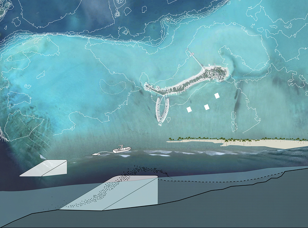 Diagram that at top shows an island and at bottom shows a rendering of ramps with sand
