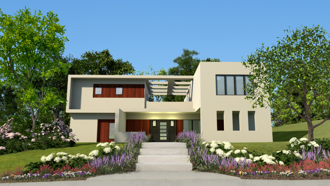 a 3D rendering of a two-story, flat-roofed home.