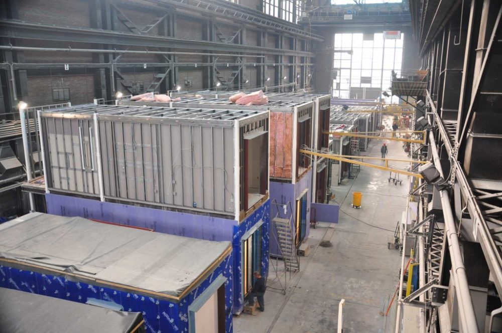 The floor of a modular construction company.