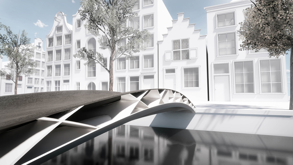 A render of a pedestrian bridge stretching over a canal.
