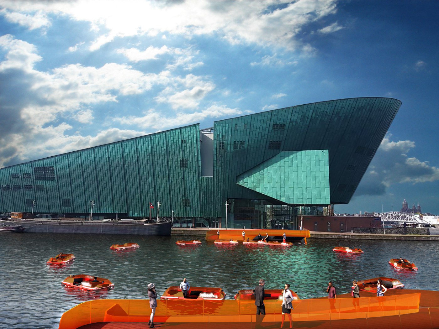 Orange boats in front of a large swooping blue-green building.