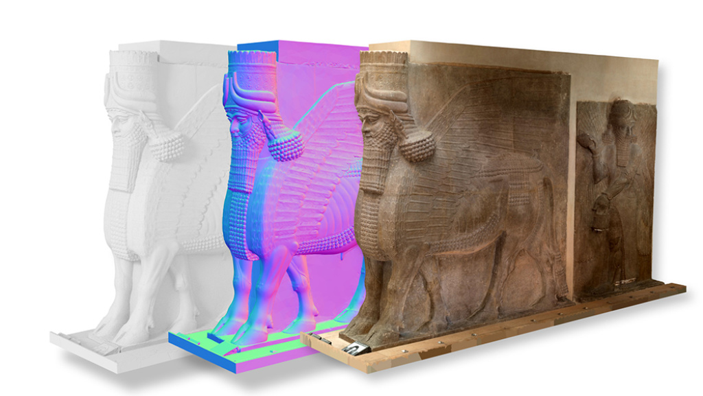A view of different textures on a 3D rendering of a sculpture
