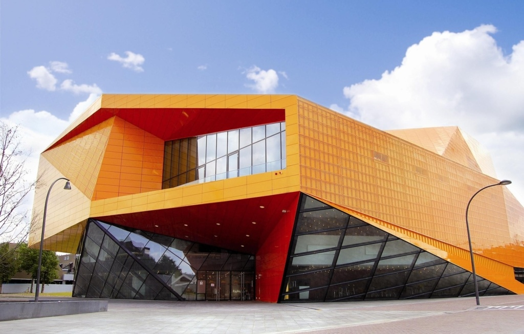 Photo of geometric orange building